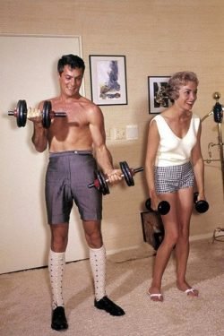 Tony Curtis and Janet Leigh lifting weights working out gym bare chested 11×17 Mini Poster