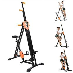 Vividy 2 in 1 Vertical Climber Step Fitness Machine Folding Full Body Exercise Climbing Cardio M ...