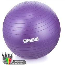 Yogu Stability Exercise Ball 65cm Balance Ball Birthing Ball with Air Pump Anti-Slip & Anti- ...