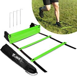JBM Agility Ladder Adustable Agility Training Ladder with Carry Bag 12 / 18 / 20 Rung, Perfect f ...