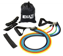 KAZE SPORTS Fitness Resistance Band Set with Door Anchor, Ankle Strap, Exercise Chart and Carryi ...