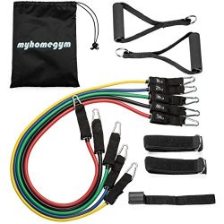 MyHomeGym Premium Resistance Band Set with Workout Videos – up to 150 pounds resistance, t ...