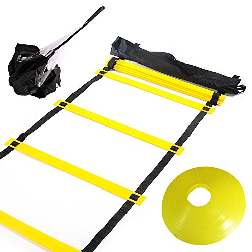 Huvai 6m 12 Rungs Agility Ladder Training With A Resistance Parachute, 12 Yellow Disc Cones, A c ...