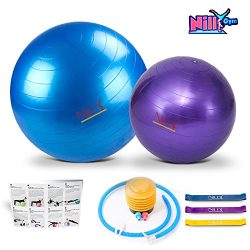 Yoga and Pilates Exercise Ball – 2 Pack Fitness Balls for Home Workouts – 55cm and 30cm Big and  ...
