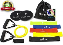 PlusFit BEST Home/Gym Workout Equipment (Gliding Discs Core Sliders, Resistance Loop Bands, Resi ...