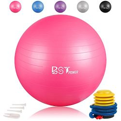BSTPOWER Exercise Ball(45-85cm) – Non-slip Stability Ball – Anti Burst Yoga Ball & ...