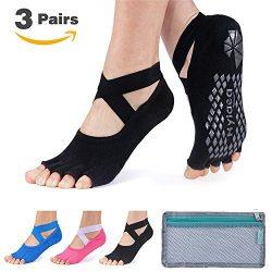 Hylaea Yoga Socks for Women with Grip & Non Slip Toeless Half Toe Socks for Ballet, Pilates, ...
