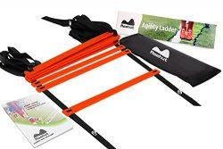 REEHUT AgilityLadderw/FREEUSERE-BOOK+CARRYBAG–SpeedTrainingEquipment (Red, 8 R ...