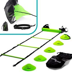 BodyGood Speed & Agility Training Set. Includes Agility Ladder, Resistance Running Parachute ...