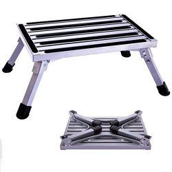 Idealchoice Aluminum Folding Platform Steps,Portable RV Step Stool, Folding Platform Stools Port ...