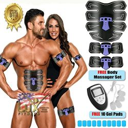 Lux Fitness Abs Stimulator & Muscle Toner EMS Abdominal Toning Belt – Electric Wireless Trai ...