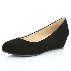 DailyShoes Women's Comfortable Fashion Low Heels Round Toe Wedge Pumps Shoes, Black Nubuck ...