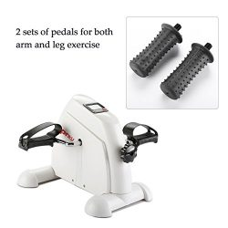 Pinty Mini Exercise Bike Pedal Exerciser Portable Cycle Lightweight (White)