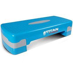 Titan Fitness Aerobic Step 27″ Stepper w/Risers Cardio Adjust 4″ – 6″ Ex ...