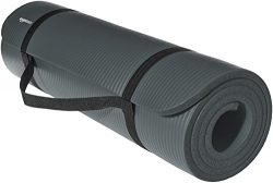 AmazonBasics 1/2-Inch Extra Thick Exercise Mat with Carrying Strap, Steel