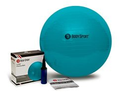Body Sport Exercise Ball with Pump for Home Gym Balance Stability, Pilates, Core Strength, Stret ...