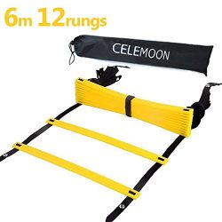 CELEMOON Upgraded Material 12-Rungs Agility Speed Training Ladder + Black Carry Case, with Conne ...