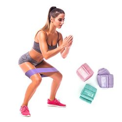 Booty Resistance Workout Fabric Non Slip Hip Bands, Set of 3, Perfect for Squats, Butt, Thigh an ...