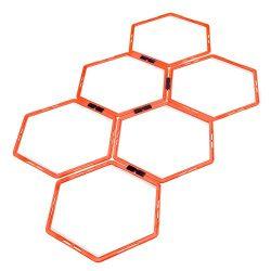 Crown Sporting Goods Hexagonal Ladder Set, Fluorescent Orange – Plyometric Hex Speed Rings for A ...