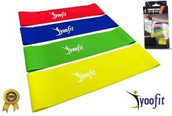Yoofit Resistance Loop Bands Set of 4 – 12″x2″ Inches Physical Therapy Band fo ...