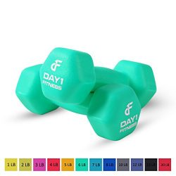 Day 1 Fitness Neoprene Dumbbells – Non-Slip, Hexagon Shape, Color Coded, Easy To Read R ...
