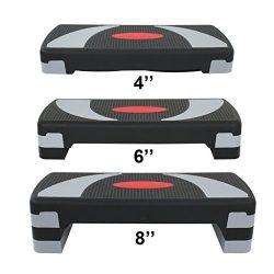 HOMGARDEN 30″ Adjustable Workout Aerobic Stepper in Fitness & Exercise Step Platform w ...