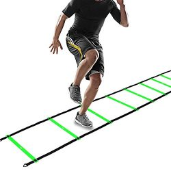CampFENSE Speed Agility Ladder (Portable) Running Training Hurdles Athletic Football Soccer Bask ...