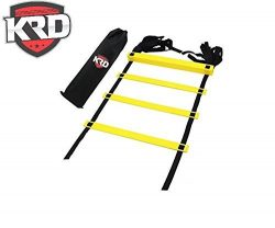 KRD Agility Speed Ladder 15 foot ( 10 Rungs) with a Carry Bag for the Best Agility Ladder Drills