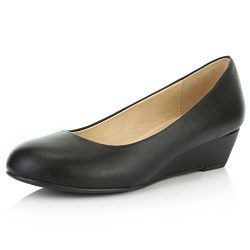 DailyShoes Women's Comfortable Fashion Low Heels Round Toe Wedge Pumps Shoes, Black PU Lea ...