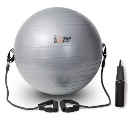 Exercise Ball W/ Removable Resistance Bands. For Pilates, Yoga, Core Strength, Balance & Mor ...
