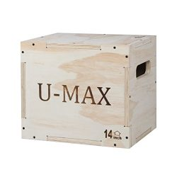 U-MAX Wood Plyo Box for CrossFit Jump Training and Conditioning Plyometric Box 16/14/12