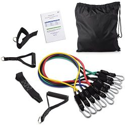 BalanceFrom Resistance Band Set – Include 5 Stackable Exercise Bands with Carrying Bag, Do ...