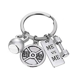 iDMSON Unisex Stainless Steel Keyring Body Weight Lifting Fitness Gym Exercise Barbell Dumbbell  ...