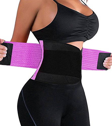 HURMES Waist Trainer Belt for Women – Waist Cincher Trimmer Slimmer Body Shaper Belt (Purp ...
