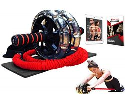 Multi Functional Ab Wheel Roller KIT with Resistance Bands, Kneepad, Guide, Workout Ebook. Abdom ...