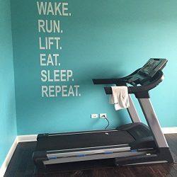 Gym Wall Decal, Wake. Run. Lift. Eat. Sleep. Repeat.