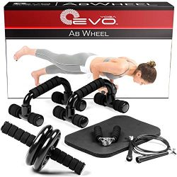 Yoga EVO Abdominal Trainer Kit – Ab Roller Wheel + Knee Pad + Online Video Exercises Ab Wh ...