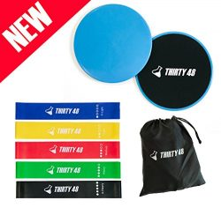 Thirty 48 Gliding Discs Core Sliders and 5 Exercise Resistance Bands | Strength, Stability, and  ...