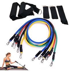 Aorkey Resistance Band Set, TB12 Workout Bands 11 Pieces with Exercise Bands, Door Anchor, Handl ...