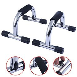 Home 1 Set Chrome Push up Stands Handles Bars Gym Fitness Exercise Equipment