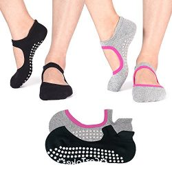 TaiDiKing Non Slip Socks Cotton Yoga Socks Pilates Ballet Socks Dance for Women Men 2 Pack(Black ...