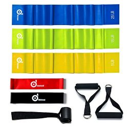 Odoland 5 Packs Resistance Loop Exercise Bands with Door Anchor and Handles, Rehab Bands with Ca ...