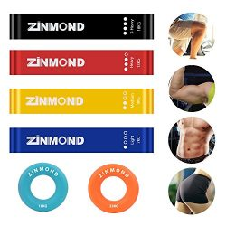ZINMOND Exercise Bands, Resistance Bands Exercise Loops 4 Set with FREE 2 Set Hand Grip Strength ...