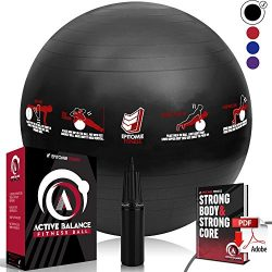 Epitomie Fitness Active Balance Fitness Ball with Imprinted Exercise and Training eBook (Black/7 ...