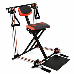 Nano Gym Supreme Portable Home Gym w/Footplate, Built-in Swivel Gel Seat & DVD