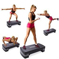 "JAXPETY New 27"" Fitness Aerobic Step Adjust 4″ – 6″ Exercise Stepper w/R ..."