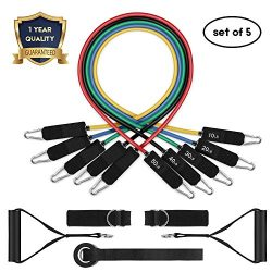 Resistance Band Set, Leekey 11pc Exercise Bands Workout bands with Carry Bag, Door Anchor, Handl ...