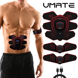 UMATE ABS Stimulator Rechargeable Abdominal Muscle Toner Trainer – Portable Toning Belt fo ...
