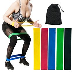CHEERGO Resistance Bands Set Resistance Loops – Set of 5 Exercise Bands for Leg and Butt,  ...