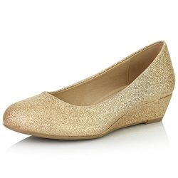 DailyShoes Women's Comfortable Fashion Low Heels Round Toe Wedge Pumps Shoes, Gold Glitter ...